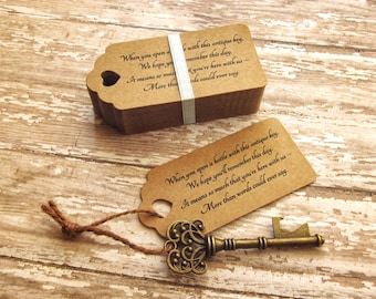 "Wedding Favors For Guests - Skeleton Key BOTTLE OPENERS + ""Poem"" Thank-You Tags – Set of 50 - Ships from USA - Antique Bronze"