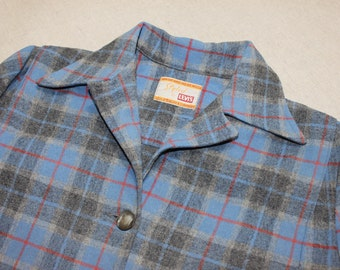vintage Woman's early 1950's Levi's '49er' style Flannel coat. Blue and Gray plaid with Red - All wool. Medium