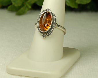 Amber Ring, Size 9, Cognac Color, Oval Shape, Natural Amber, Sterling Silver, Baltic Amber
