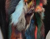 Real Fox fur scarf boa muti color New Made in the USA