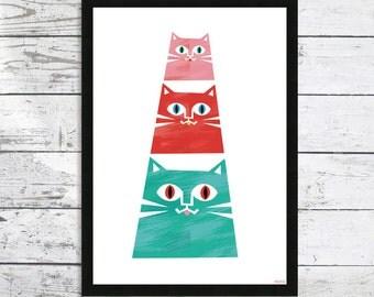 Cat Pyramid - Cats - Cat Decor - Cat lover gift - Cat art print - Cat picture