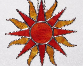 Stained Glass Suncatcher - Yellow/Orange Streaky Glass Sunburst
