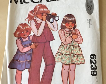 McCall's #6239 - Size 1 Toddlers' and Children's Dress or Jumper, Top and Pants Pattern