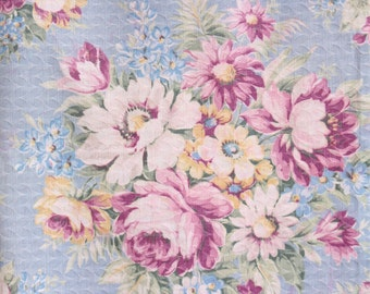 Cottage Chic Pink Cabbage Rose Vintage Sky Blue Damask Jacquard Drapery Panel Curtain Fabric