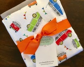 VW bus 2 burpcloth set  - cloth diaper and soft flannel colorful, pennants, flags, gray, vintage, vw bug