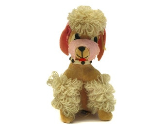 Vintage Dakin Dream Pets Pink & Tan French Poodle Plushie (E2616)