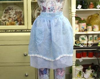 Vintage Blue Chiffon Apron with Hearts & Flowers Design (E7966)