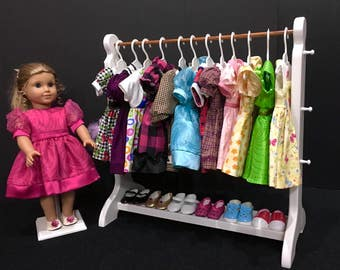 "American Girl Doll: 21"" white doll clothes rack.  Accommodates AG hangers."