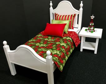 """American Girl Doll: Furniture Classic Elena bed with Christmas bedding for the 18"""" American Girl  dolls"""