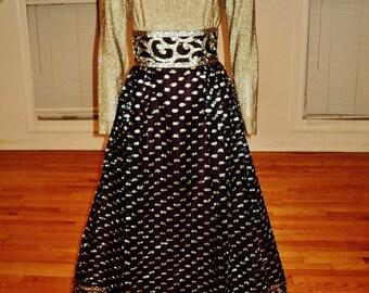 Vintage 1970's Gold raised Metallic Lurex maxi gown chic Futura Couture