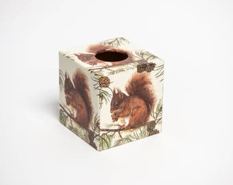 Squirrel  Tissue Box Cover wooden handmade