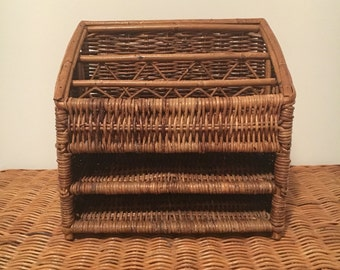 Vintage Wicker Office Mail Organizer