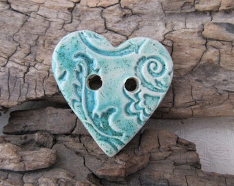 Medium Jade Green Glazed Brocade Texture Heart Shaped Ceramic Button