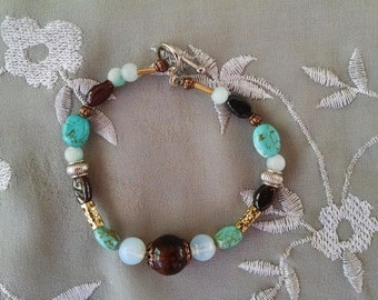 Opal turquoise bracelet, mixed metal opal, turquoise, garnet bracelet