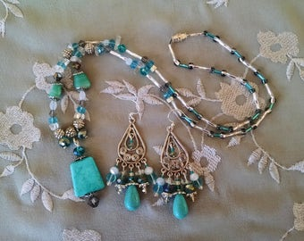 Turquoise silver, opal,crystal statement necklace with matching long chandelier earrings