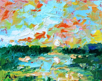 "Original Abstract Southern Wetland Landscape Oil Painting- ""Moonfull""- by Claire McElveen"
