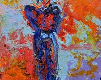 "Fine Art Giclee Print ""Relevance IV"" From Original Abstract Figure Painting by Claire McElveen Signed"