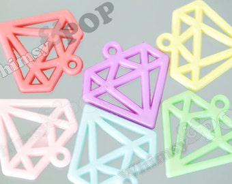 6 - Mixed Colors Cutout Kawaii Diamond Decoden Resin Flatback Charm Pendant, Diamond Pendants, 40mm x 39mm (C2-16)