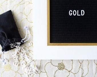 Letter Board with Metallic Gold trim - 13''x13'' - Black or Gray Felt - Changeable Plastic Letters. Quote Sign. Letterboard