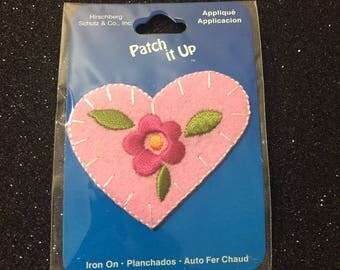 Pretty Pink Embroidered Iron On Heart Applique / Patch ~ On The Original Card