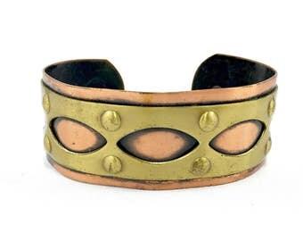 Vintage Cuff Bracelet: Copper & Brass c.1960's