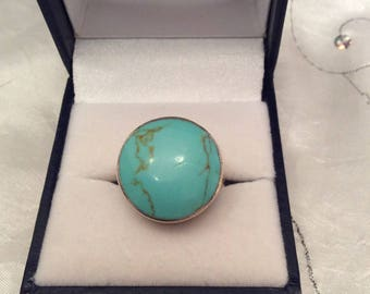 Authentic Vintage STERLING SILVER 925 Large TURQUOISE Round Ring, Promise, Birthday, Friendship,Statement, Free Postage.