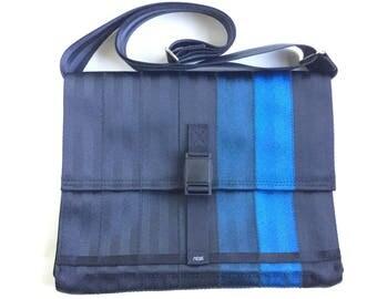 Seat Belt Messenger Bag with Magnetic Buckle (M-7) - Black and Blue