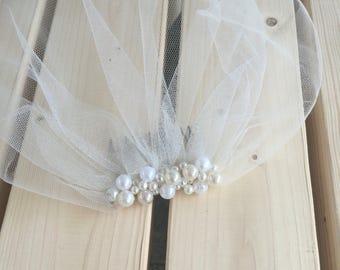 Blusher Ivory Veil, Tulle Birdcage Veil, Vintage Style Petite Veil Mini Illusion Tulle Veil