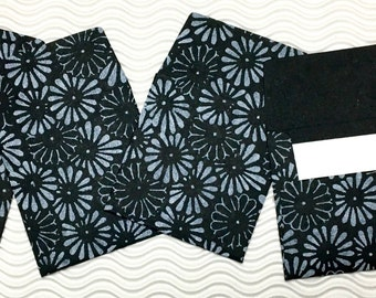 16 teeny tiny envelopes black daisy handmade paper miniature note set square stationery party favors weddings guest book table numbers