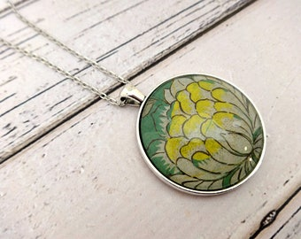 Pendant Necklace, Glass Pendant, Glass Pendant Necklace, Charm Necklace, Bezel Necklace, Round Pendant, Floral Necklace, Flower Power