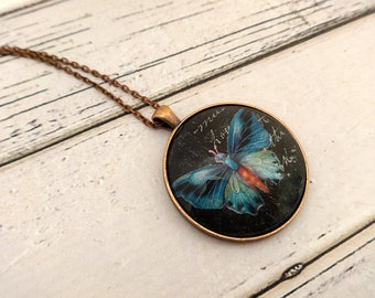 Pendant Necklace, Glass Pendant, Glass Pendant Necklace, Charm Necklace, Bezel Necklace, Round Pedant, Butterfly Pendant, Midnight Butterfly