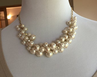 Ivory pearls with clear crystals on light gold chain is perfect for your bridal party, bridesmaid jewelry, wedding jewelry
