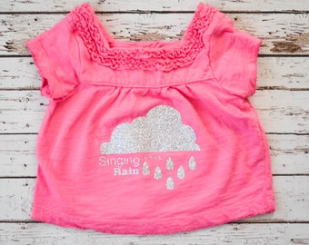 Pink Rain Cloud Singing in the Rain Glitter Ruffle Tee for Baby Girl 9 Months