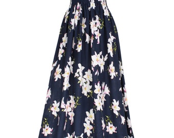 Cotton Maxi Dress Navy Blue Floral Sundress Women Plus Size Dress Clothing Dress Fancy Hanky Dress Full Length Long Hawaiian Dress Summer