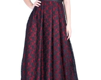 Formal Dress Maroon Black Lace Evening Gown Women Plus Sizes Clothing Halter Maxi Dress Party Wedding Guest Black Black Dress Long Sundress