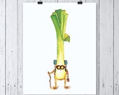 Traveling LEEK - ART PRINT - a little sun, illustration, No Place Like Home, housewarming gift, backpacking, mothers day, hiker