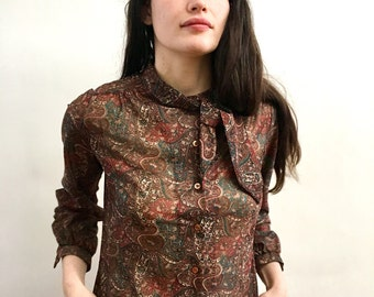 Vintage 70s Paisley Pussy Bow Blouse