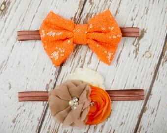 Thanksgiving headbands, baby headbands, orange headband, fall headbands, girl headband toddler headband, bow headband, flower, infant