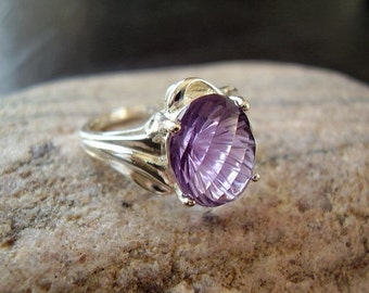 CLEARANCE! Genuine Amethyst Solitaire Statement Ring, Solid 925 Sterling Silver Ring, February Birthstone, Boho Gypsy Festival, Gift For Her