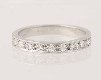 Diamond Wedding Band - 950 Platinum Women's Ring Round Cut .30ctw N6309