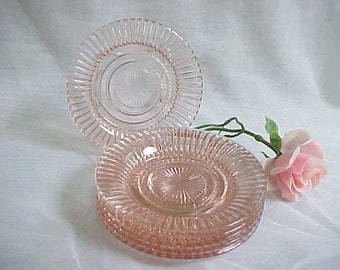 "1930s Hocking Queen Mary 6"" Flared Pink Bread & Butter Plate Set, 6 Vintage Anchor Hocking Vertical Ribbed Pink Pressed Glass Sherbet Plates"