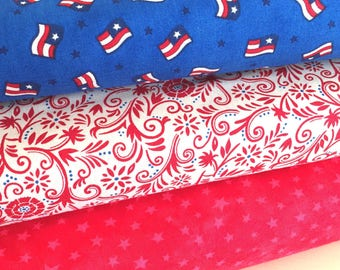SALE Moda Patriotic Fabric Bundle of Three, SEW AMERICAN by Deb Strain and Moda Marbles, All Moda Fabrics