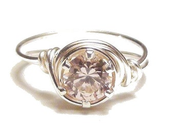 Pink Cubic Zirconia Ring, Silver Filled or Silver Plated Wire Wrapped Ring, Pink CZ Ring Custom Sized
