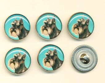 Vintage SchnauzerDog Buttons - Set of 6 ca.1990's