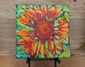 "FLOWER II | 8"" x 8"" | Original Painting by Carol Bold | 2016"