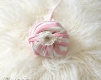 Newborn Pink Stripe Stretch Jersey Wrap Set, Baby Girl, Skinny Stretch Headband, Baby Wrap, Flower,  photography prop, pink stretch wrap