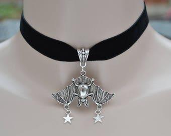 Large Hanging Night BAT Pendant With STARS Charms BLACK Velvet 16mm Ribbon Choker Necklace - td... or choose another colour velvet please :)
