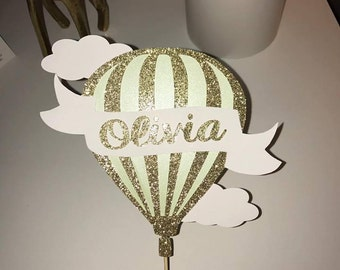 Gold Glitter Hot Air Balloon Cake Topper - Personalized w/ Name, Banner, Hot Air Balloon and Clouds - Detailed and Layered!
