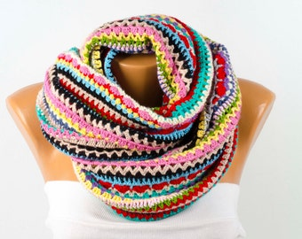Colorful crochet loop scarf , rainbowccolored  crochet chunky  infinity scarf,