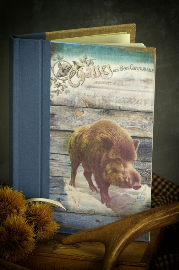 boar-Hunting venery book very nice journal write in French  vintage pictures personnalisé